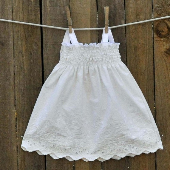 White embroidered baby dress smocked eyelet great for beach for White cotton eyelet wedding dress