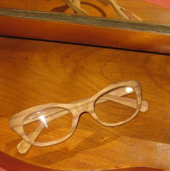 Wood Effect Vintage Spectacle/Glasses, Filos, Italian Brand