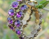 Vintage Purple Rhinestone Hoop Earrings