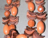 Vintage W. German Lucite Two Strand Orange and Brown Necklace