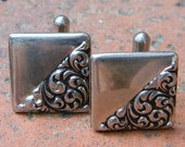 Vintage 1950's Square Silver Cuff Links