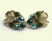 Vintage Lisner Blue-Green Rhinestone Earrings