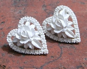 Carved Hearts - Vintage Celluloid White Carved Floral Heart Earrings
