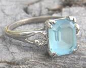 Big Blue Eyes- Vintage Blue Topaz Ring Set in Sterling