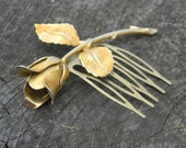 Vintage Gold Rose Hair Comb - Wedding or Special Occasion