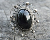 Vintage Silver and Black Stone Ring