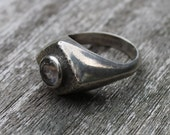 Vintage Mans Ring with Clear Stone
