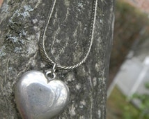 Vintage Silver Puff Heart on Silver Chain