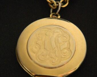 Vintage Gold Locket  with Monogram Design on Multi Chain Necklace