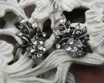 Vintage Coro Rhinestone Flower Earrings