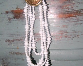 Dreaming of a White Glass Necklace - Vintage Milk Glass Layered Necklace