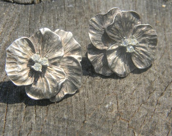 Vintage Silver Flower Earrings with Rhinestones