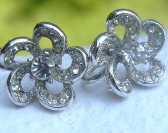 Vintage Bogoff Rhinestone Flower Earrings