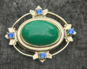Vintage Gold Brooch with Green Cabochon and Blue Rhinestones