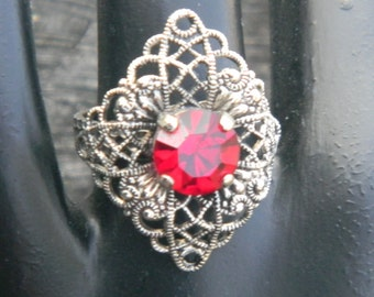 Vintage Silver Filigree and Red Stone RIng- West Germany