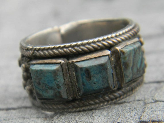 Vintage Topazio Silver and Turquiose Ring, Made in Portugal