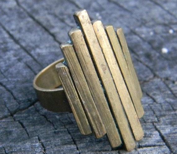 Vintage Brass Art Deco Ring