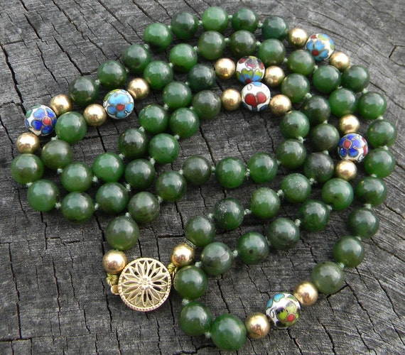Vintage Cloisonne and Jade Bead Necklace
