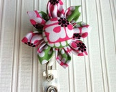SALE Badge Blossom Retractable Badge I.D. Holder