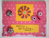 Birthday Card - Polka Dot, for anyone card, handmade birthday card for her, 3D birthday card