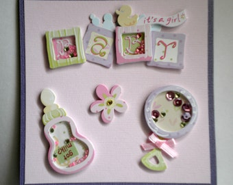 New Baby Card - It's a Girl, baby girl greeting card