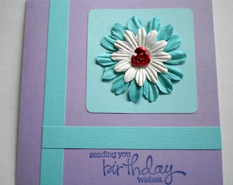 Birthday Card - Blue and White Flower