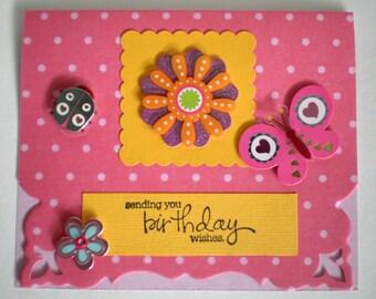 Birthday Card - Polka Dot, for anyone card, handmade birthday card for her, 3D birthday card
