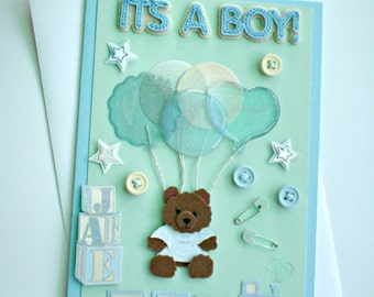 Baby Card - Teddy Bear with balloons, It's a boy baby card, welcome new baby,mother to be baby card