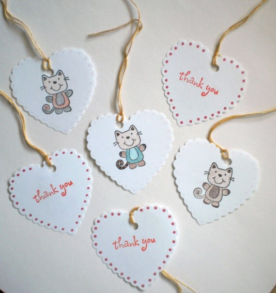 Thank You Gift Tags - Kitties, packaging kitty labels, gift bag accessories