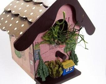 Neighborhood Decoupaged Mini Birdhouse Pedestal