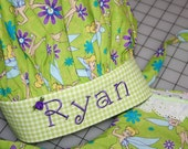 Tinkerbell Apron and Chef Hat with Personalized Embroidery in Lime Green