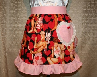 Valentine's Day Half Apron with Pin-Up Sports Hunks and Hearts with a choice of Ruffle Fabric
