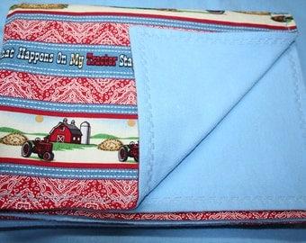 Tractor LARGE Receiving Blanket Little Farmer International Harvestor Farmall Cotton and Flannel