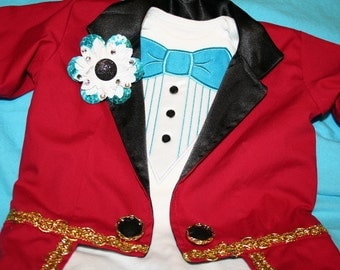2 Piece Circus Ringmaster Costume Fully Lined Tuxedo JACKET with Tails and BOUTONNIERE - Birthday, Wedding, Circus, Carnival, Tailcoat