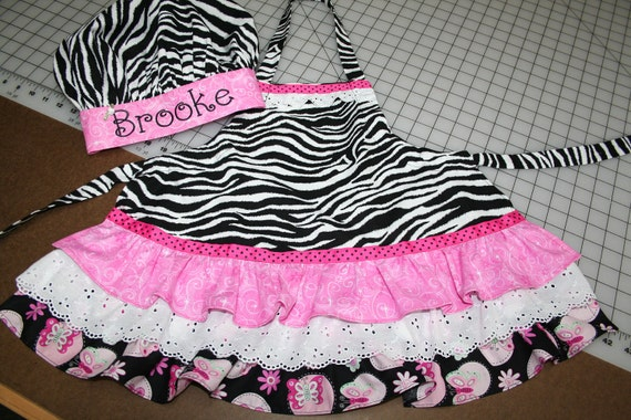 Apron and Chef Hat with Personalized Embroidery in Zebra Print and Hot Pink