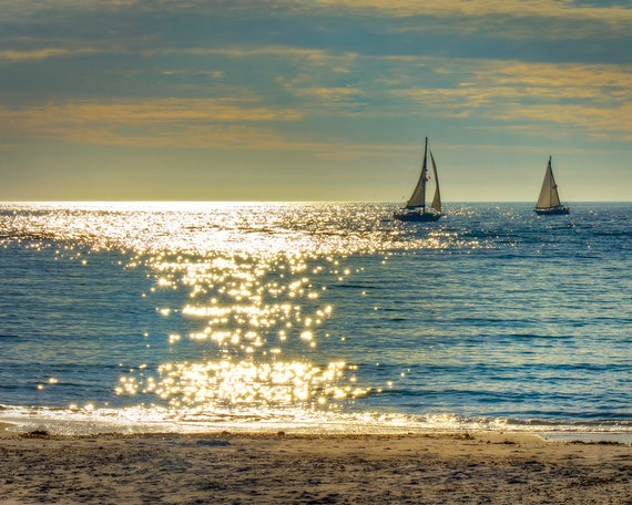 wall art, home decor, Fine Art Print -  sailing, sailboat, ocean, gulf, sunset, waves, sparkling water - Chasing Dreams