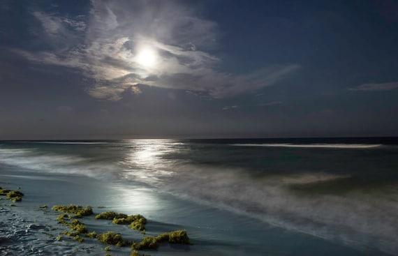 wall art, home decor, Fine Art Print - Super Moon, Ocean, Waves, Night, Beach, Tide, Beach- Mermaid's Moon