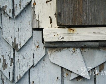 Shabby chic peeling paint, distressed house photograph 12x18