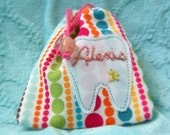 Rainbow Dotty Girls Personalized Tooth Fairy Pouch makes a Great Easter Basket gift