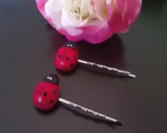 Ladybug hair bobby pins clips 2 pair/ 4 pieces with Wood Embellishment