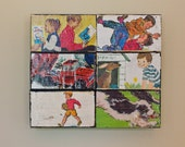 "Reserved for Amber - Retro 3D wood block art collage ""Boys Best Friend"" RETRO POP ART  4.5"" x 5"" x 3/4"""