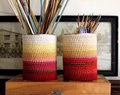 Twin Red Lemon ombre coffee can cozy Set of two as Seen in Simply Crochet Magazine