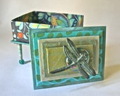 Handmade Gift-Jewelry-Keepsake-Trinket Box in Shades of Blue & Teal with Verdigris Dragonfly