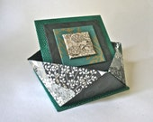 Faceted Origami Gift Box - Green & Black