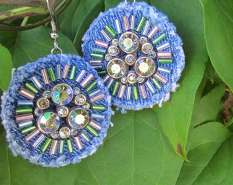 Earrings -Denim Dangle with Vintage Rhinestones and Hand-Beading- Recycled and Upcycled