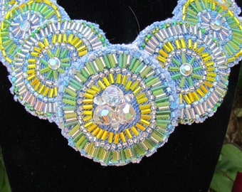 Bib Necklace - Statement Piece - Recycled Denim with Vintage Crystals and Glass Beads - OOAK