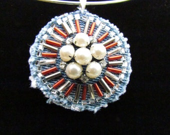 Medallion Pendant with Vintage Rhinestone and Faux Pearl Pin - Red, Silver, and Pewter Beads -Hand-Beaded, OOAK Necklace