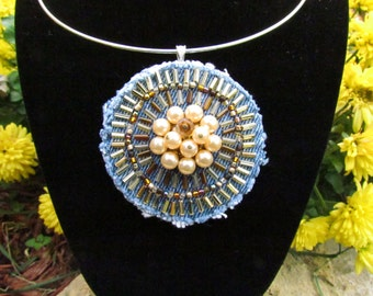 Pendant Necklace - Medallion of Hand-Beaded, Upcycled Denim with Vintage Faux Pearl Earring - Brown and Gold