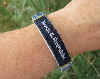 Bracelet - Recycled Designer Denim - Rock and Republic - Snap - Bangle