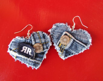 Earring - Heart-Shaped, Recycled Designer Rock and Republic Brand Denim  - Upcycled